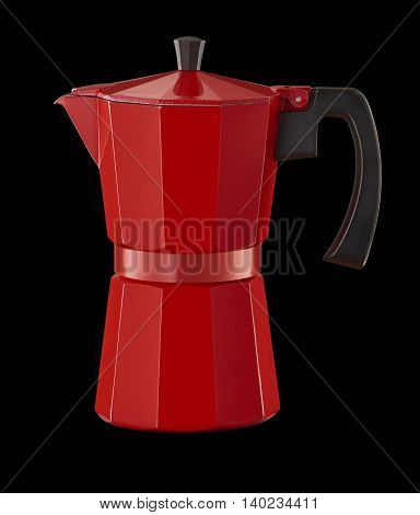 Studio shot of Red percolator on black background