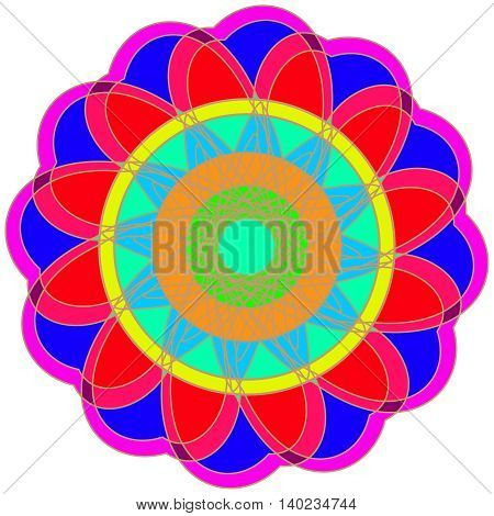 Abstract new multi color geometric fracral mandala.