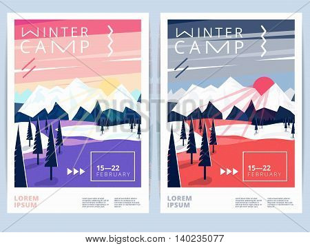 Set of winter hiking camp poster or flyer. Vector snow background for mountain skiing recreation or sport activity
