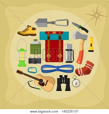 Camping and hiking symbols and icons set flat vector illustration