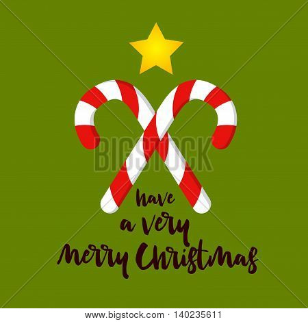 Vector stock of christmas greetings with candy cane and a star