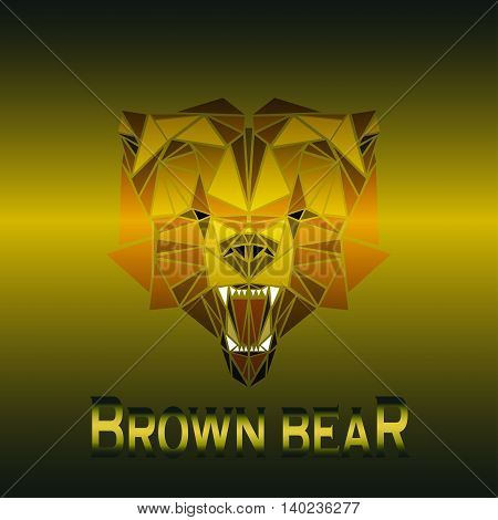 vector illustration abstract portrait of a brown bear