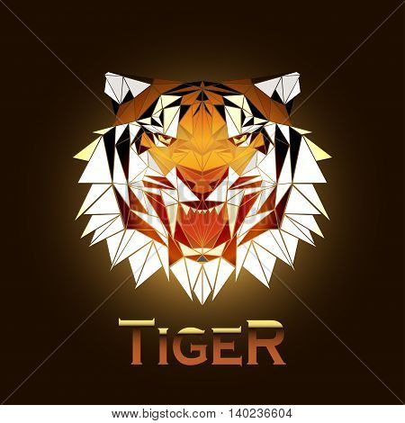 vector illustration abstract portrait of a tiger