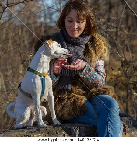 Woman feeding dog in autumn park the age of forty years