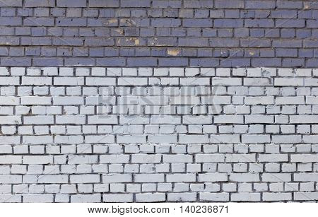 old vintage two-tone brickwork blue and white.