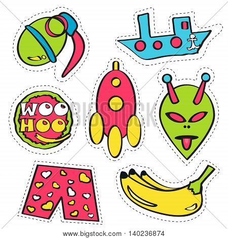 Set of colorful funny pin badges. Collection of bright vector cartoon style patches and stickers