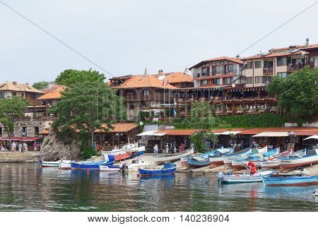 Nessebar, Bulgaria, Juny 18, 2016: Small Fishing Boats Parked In The Harbor Town Of Nessebar