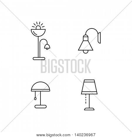 Collection of furniture icons. Lamps and lighting devices. Icons for website of furniture retailer. Linear style.