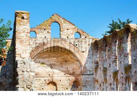 Ruins of the ancient church in the town of Nesebar in Bulgaria