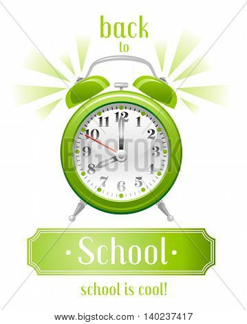 Back to school vector illustration with yellow alarm clock icon on white background, abstract vintage design template