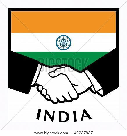 India flag and business handshake, vector illustration