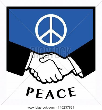 Peace flag and business handshake, vector illustration