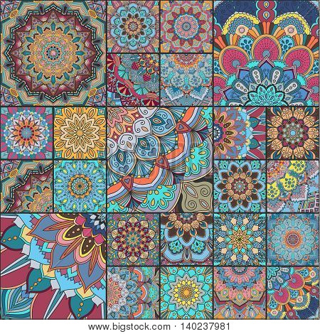 Boho tile set. Colorful patchwork for fabric print, furniture, wallpaper, fashionable textile. Square design elements. Unusual flower ornament. Vector oriental mandala background.
