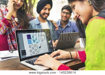 Friend Group Laptop Working Outdoors Concept