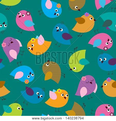 Seamless template with cute colorful birds