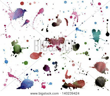 Watercolor hand painted blots and stains collection
