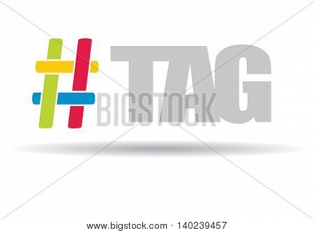 Hashtag communication sign. Abstract illustration for your design.
