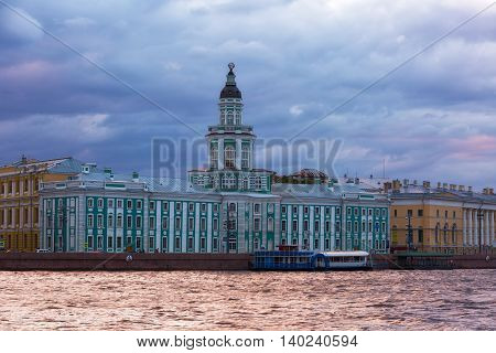 building of the Kunstkammer in white night St. Petersburg Russia