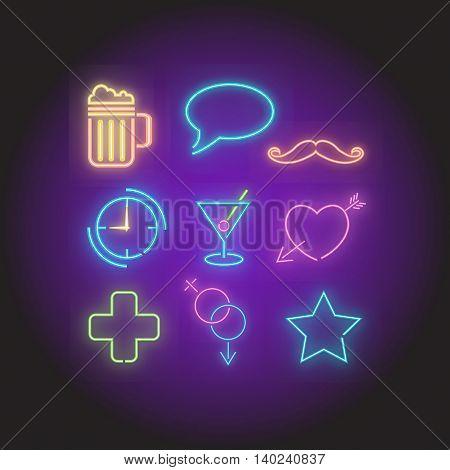 Retro Neon Bar symbols elements set vector