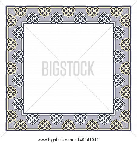 Ornamental frame in celtic style. Vector square pattern.