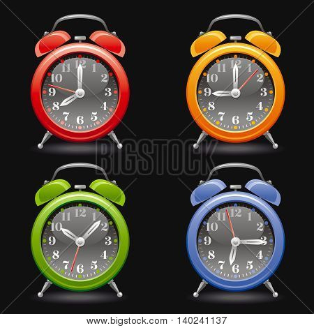 Vector illustration of alarm clock icon set in red, yellow, green, blue colors on black background, abstract vintage design template. Different time on dial.