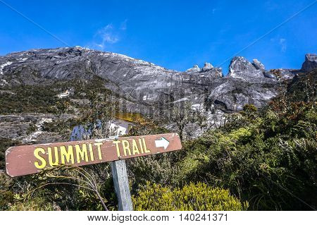 Ranau,Sabah-Mac 13,2016:Mountain Kinabalu from Laban Rata.The new trail will take climbers from Panalaban at 3,272m to Sayat Sayat 3,668m then continue on to the summit trail to Low's Peak at 4,095.2m.