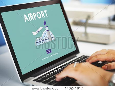 Airport Airplane Flight Destination Journey Concept