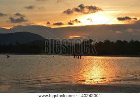 sea at Samui island is Surat Thani , Thailand at the sunset