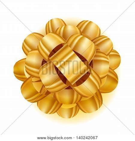 Gift bow realistic vector illustration. Golden ribbon present box decoration. Good for birthday, christmas celebration design.