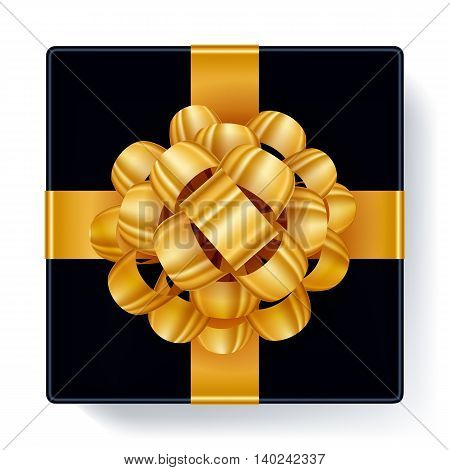 Black gift box with golden ribbon bow top view vector illustration Beautiful realistic present box template for birthday christmas new year design.