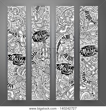 Cartoon line art vector hand drawn doodles music corporate identity. 4 vertical banners design. Templates set