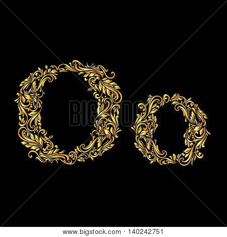 Richly decorated letter 'o' in upper and lower case.