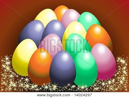 Easter eggs in star basket