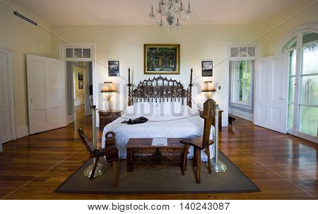 KEY WEST FLORIDA USA - MAY 03 2016: Sleeping room of Ernest Hemingway in the Hemingway House in Key West in Florida.