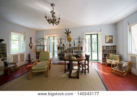 KEY WEST FLORIDA USA - MAY 03 2016: Room where Ernest Hemingway worked in the Hemingway House in Key West in Florida.