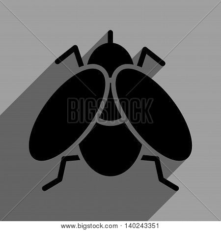 Fly long shadow vector icon. Style is a flat fly black iconic symbol on a gray square background with longshadow.
