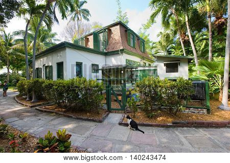 KEY WEST FLORIDA USA - MAY 03 2016: Building where Ernest Hemingway worked on the compound of the Hemingway House in Key West in Florida.