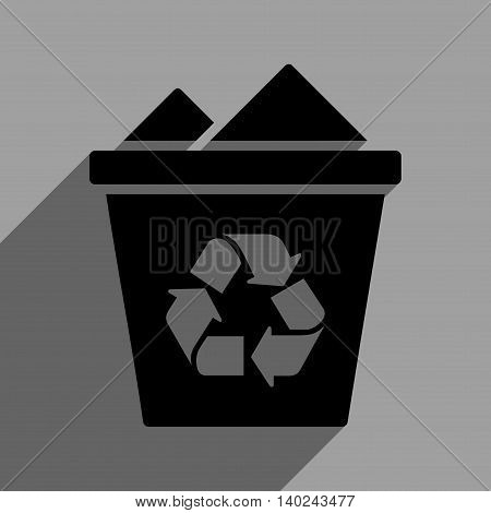 Full Recycle Bin long shadow vector icon. Style is a flat full recycle bin black iconic symbol on a gray square background with longshadow.
