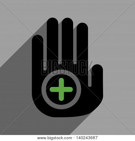 Hand Medical Marker long shadow vector icon. Style is a flat hand medical marker black iconic symbol on a gray square background with longshadow.