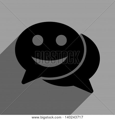 Happy Chat long shadow vector icon. Style is a flat happy chat black iconic symbol on a gray square background with longshadow.
