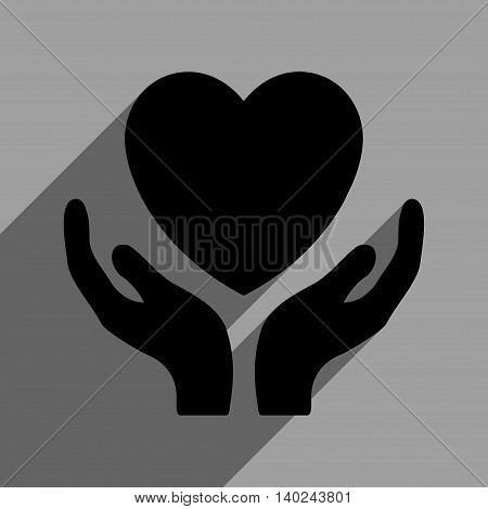 Heart Care Hands long shadow vector icon. Style is a flat heart care hands black iconic symbol on a gray square background with longshadow.