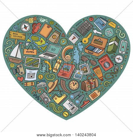 Colorful vector hand drawn set of Travel cartoon doodle objects, symbols and items. Heart composition