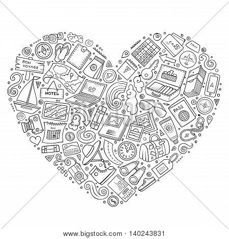 Line art vector hand drawn set of Travel cartoon doodle objects, symbols and items. Heart form composition
