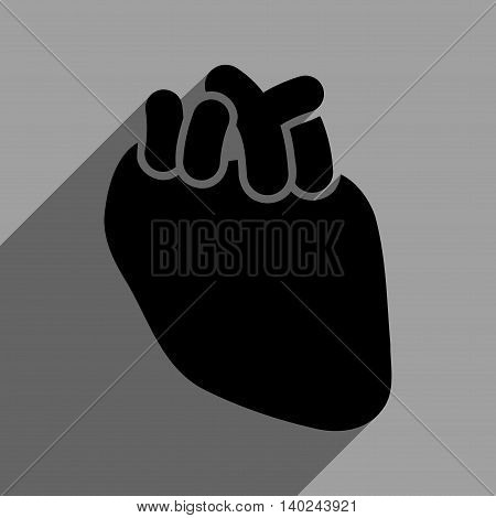 Heart Organ long shadow vector icon. Style is a flat heart organ black iconic symbol on a gray square background with longshadow.