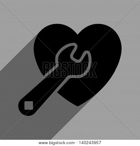 Heart Repair long shadow vector icon. Style is a flat heart repair black iconic symbol on a gray square background with longshadow.