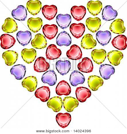 vector gems heart made of colorful hearth shaped gems