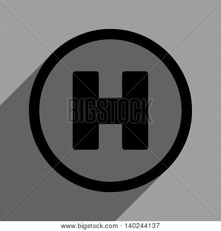 Helicopter Landing Circle long shadow vector icon. Style is a flat helicopter landing circle black iconic symbol on a gray square background with longshadow.