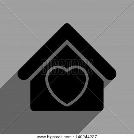 Hospice long shadow vector icon. Style is a flat hospice black iconic symbol on a gray square background with longshadow.