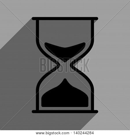 Hourglass long shadow vector icon. Style is a flat hourglass black iconic symbol on a gray square background with longshadow.
