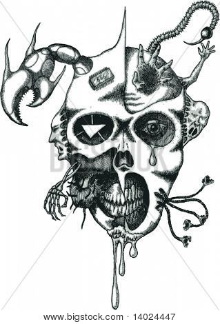 vector tattoo daemon face with tentacles and sign of the beast